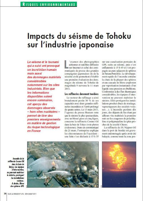 Impact Du Séisme De Tohoku Sur L'industrie Japonaise