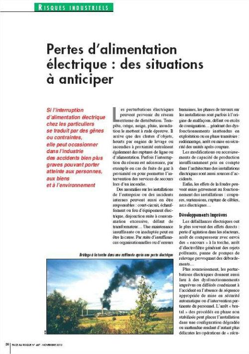 Pertes D'alimentation électrique : Des Situations à Anticiper