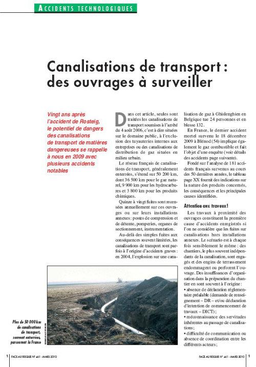Canalisations De Transport : Des Ouvrages à Surveiller