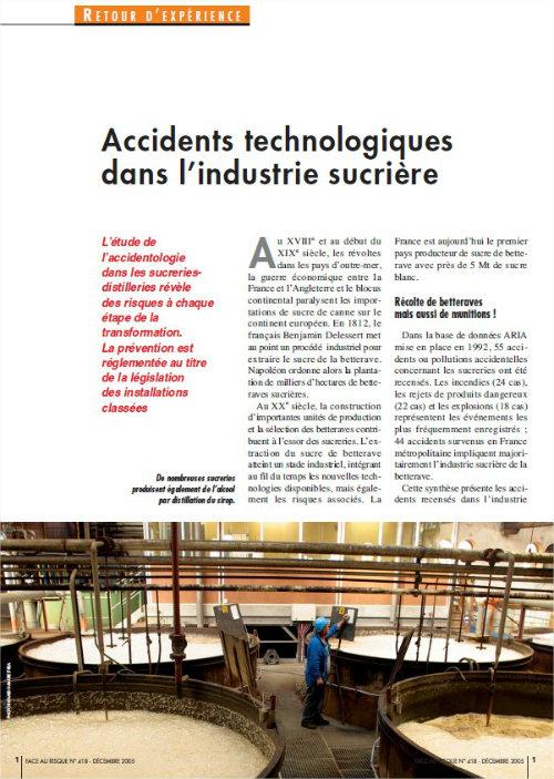 Accidents Technologiques Dans L'industrie Sucrière