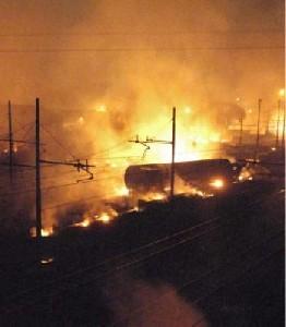 Explosion De Wagons De GPL.