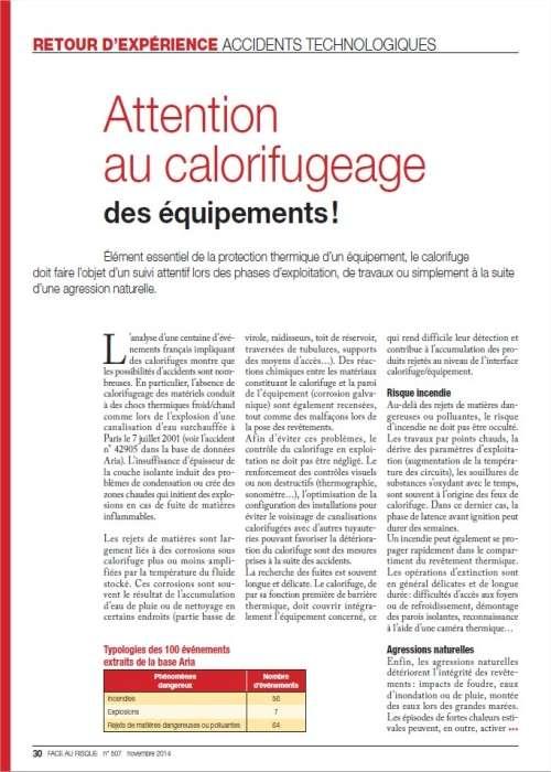 Attention Au Calorifugeage Des équipements !