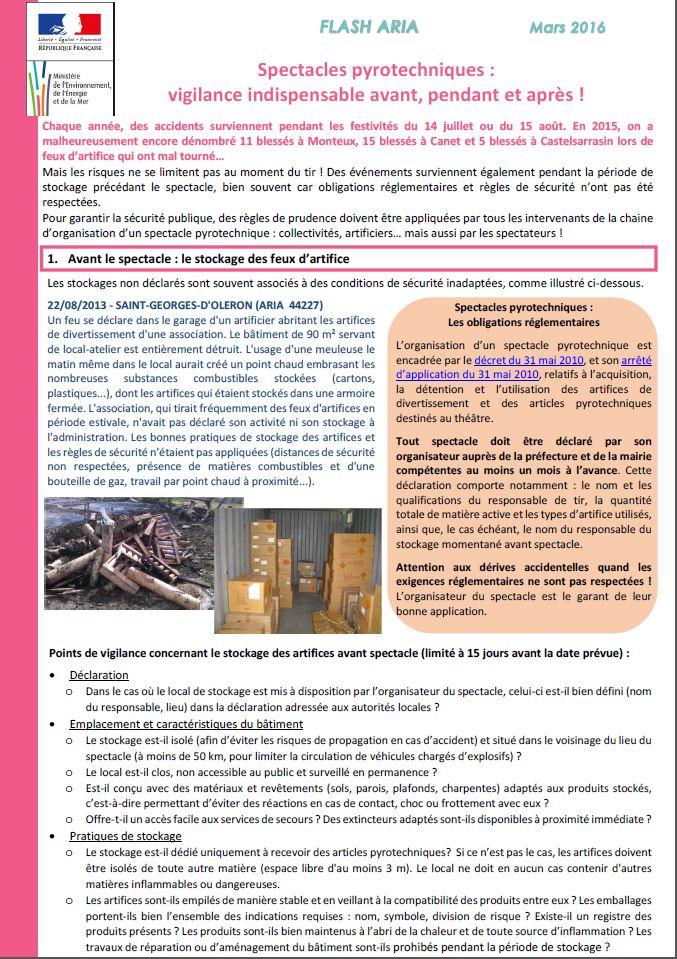 Spectacles Pyrotechniques :  Vigilance Indispensable Avant, Pendant Et Après !