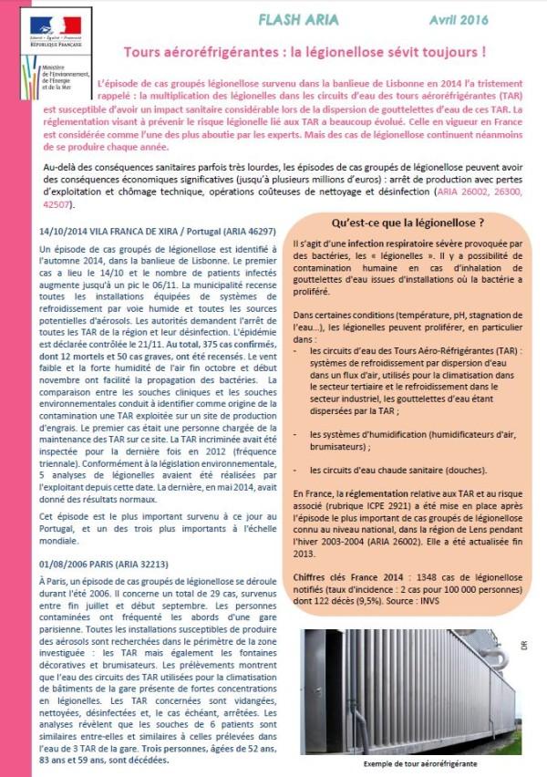 Tours Aéroréfrigérantes : La Légionellose Sévit Toujours !