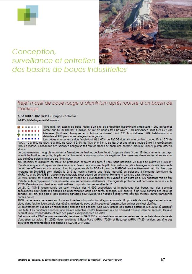 Conception, Surveillance Et Entretien Des Bassins De Boues Industrielles