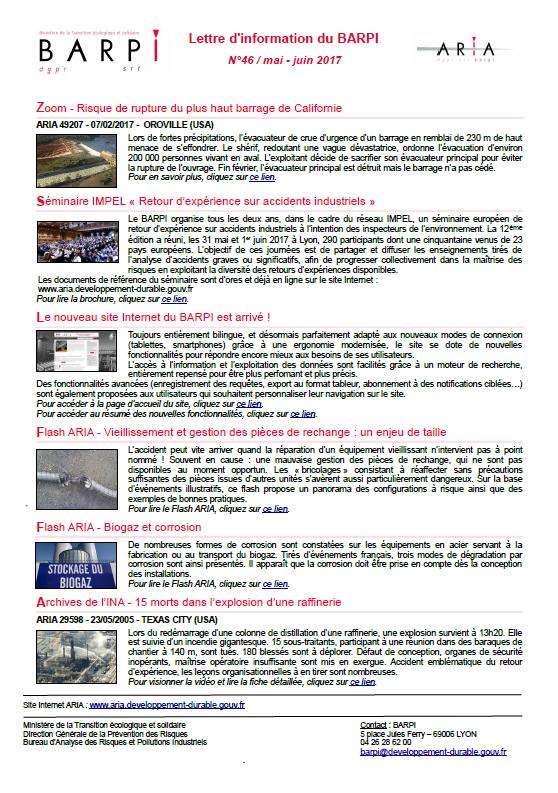 Lettre D'information Du BARPI N°46 / Mai – Juin 2017