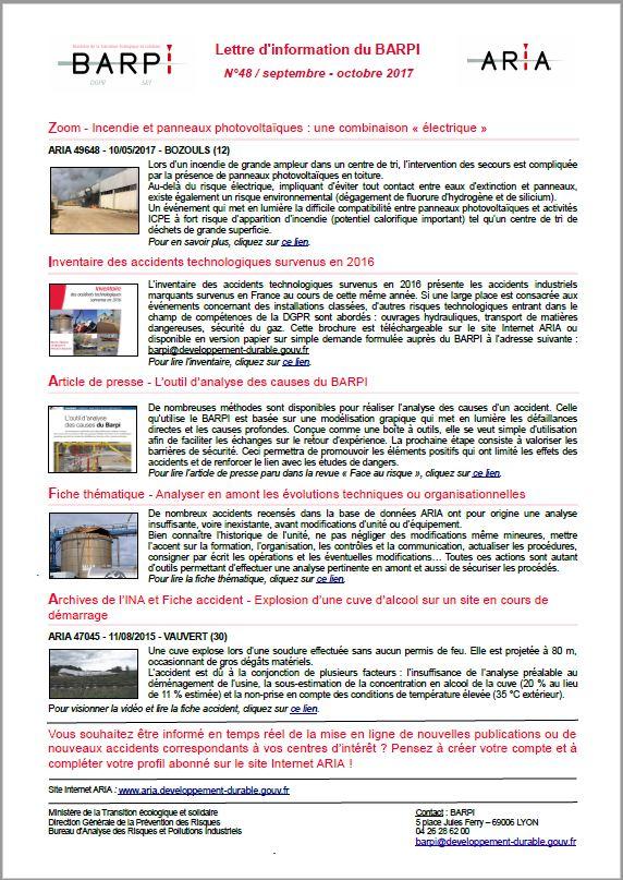 Lettre D'information Du BARPI N° 48 – Septembre/octobre 2017