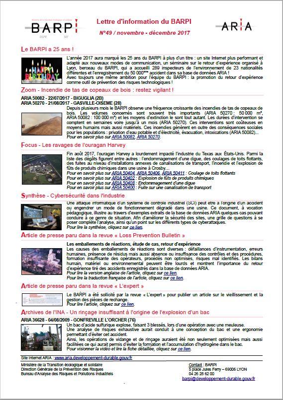 Lettre D'information Du BARPI N° 49 – Novembre/décembre 2017