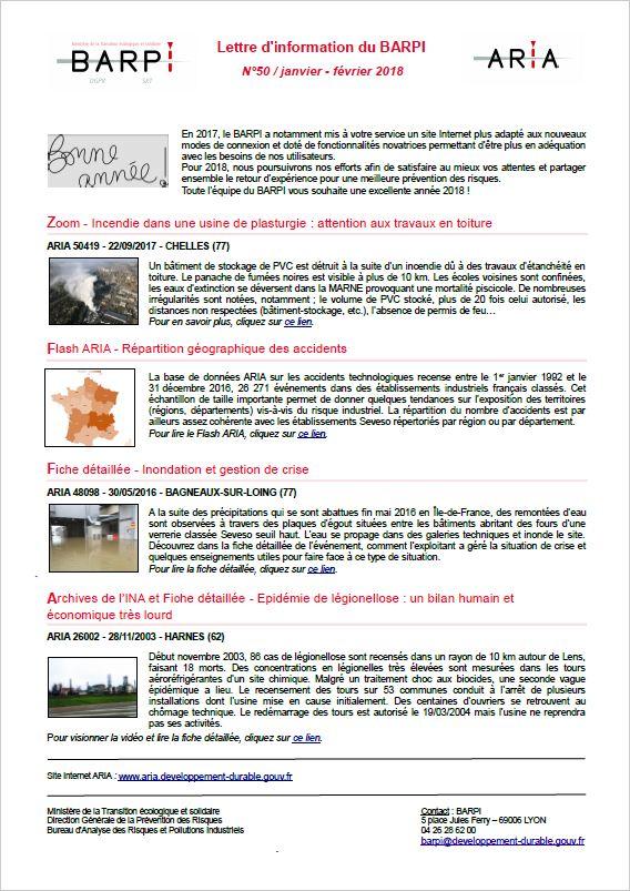 Lettre D'information Du BARPI N° 50 – Janvier/février 2018