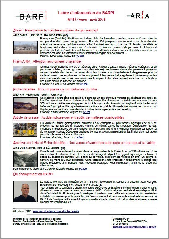 Lettre D'information Du BARPI N° 51 – Mars/avril 2018
