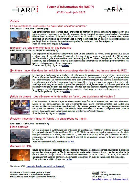 Lettre D'information Du BARPI N° 52 : Mai-juin 2018