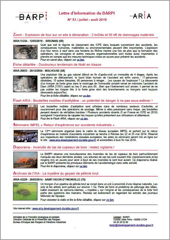 Lettre D'information Du BARPI N° 53 – Juillet/août 2018