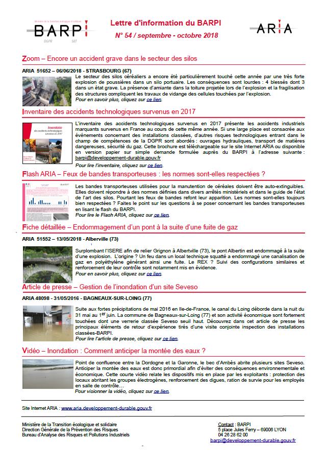 Lettre D'information Du BARPI N° 54 – Septembre/octobre 2018