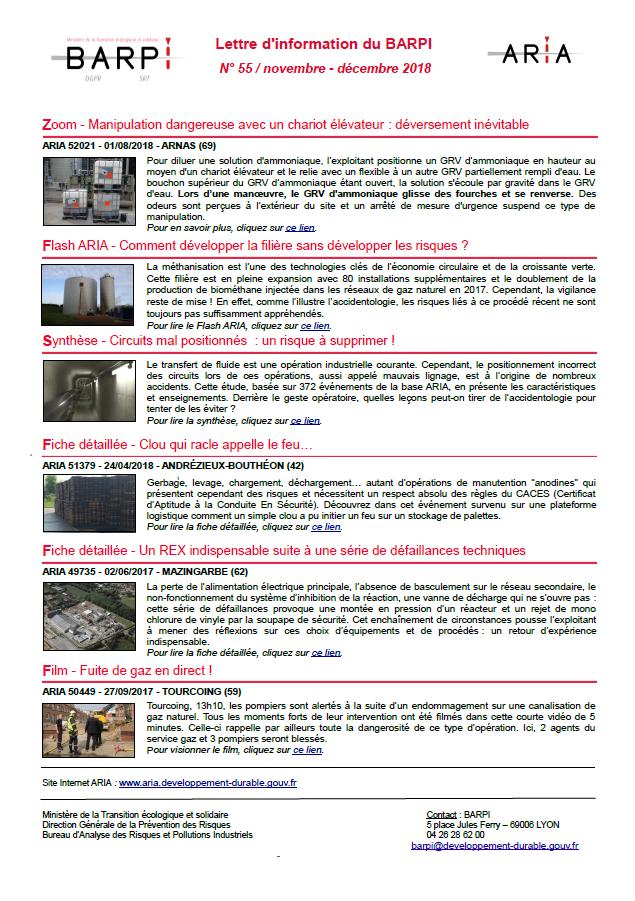 Lettre D'information Du BARPI N° 55 – Novembre/décembre 2018