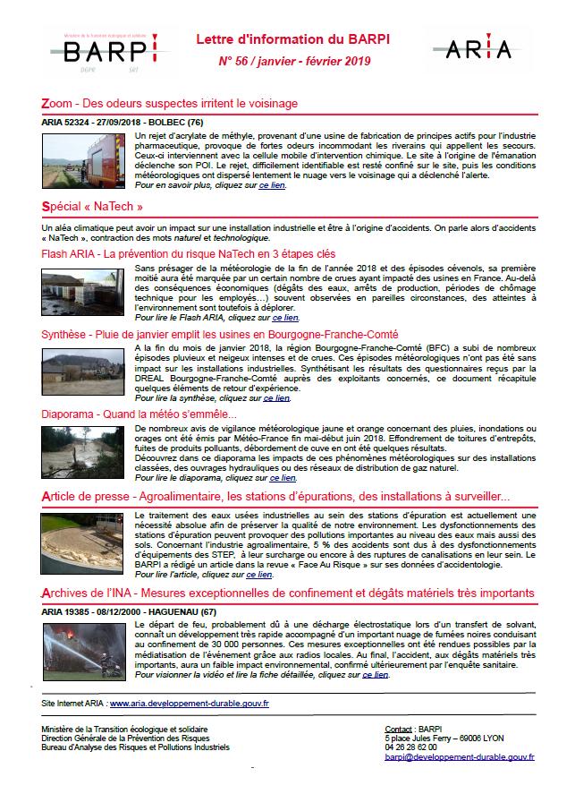 Lettre D'information Du BARPI N° 56 – Janvier/février 2019