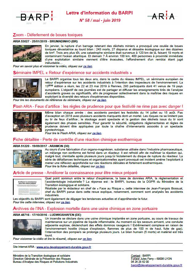 Lettre D'information Du BARPI N° 58 – Mai/juin 2019