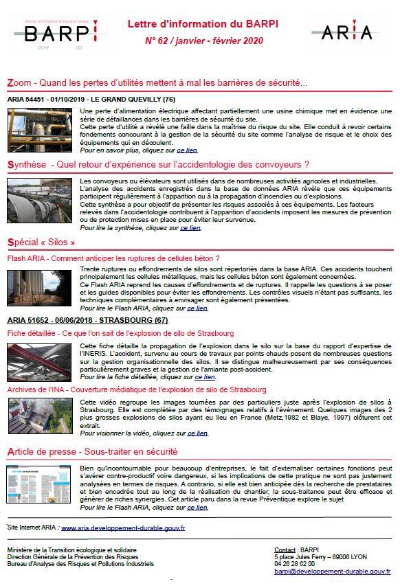 Lettre D'information Du BARPI N° 62 / Janvier – Février 2020