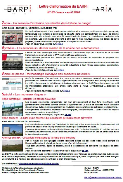 Lettre D'information Du BARPI N° 63 / Mars – Avril 2020