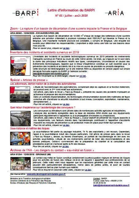 Lettre D'information N° 65 / Juillet – Août 2020