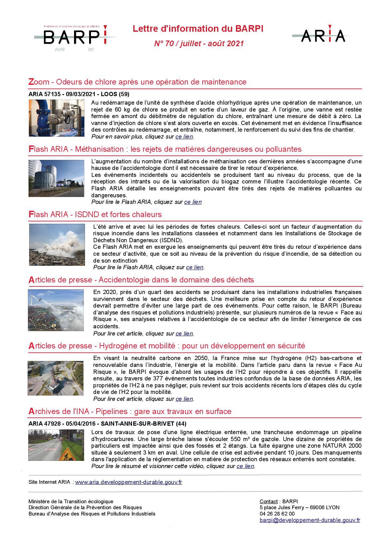 Lettre D'information N° 70 / Juillet – Août 2021