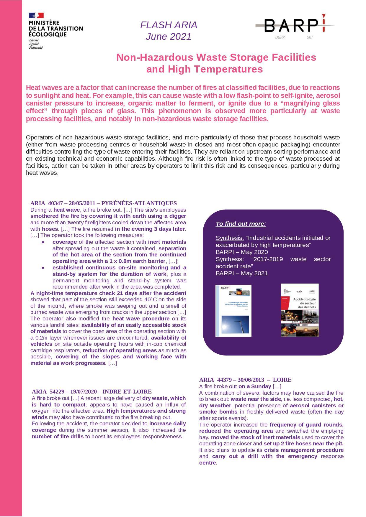 Non-Hazardous Waste Storage Facilities And High Temperatures